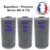 cartouche charbon bloc pour filtre expédition et premium, séries 480 & 750